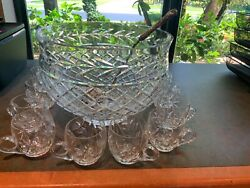 Large Vintage Waterford Punch Bowl12+12 Mugs2 3/4+heavy Sterling Laddle