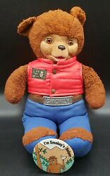 """Vintage Ideal Smokey The Bear Rubber Facetalking Bear 16"""" + Vest And Pin"""