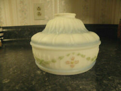 Antique Glass Lamp Shade White Blue Pink Floral French Cottage Design 1920s-1949