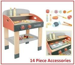 Kids Wooden Bbq Set Pretend Play Cooking Meat Utensils Barbecue Grill 50 Cooker
