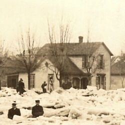 00's Logansport Indiana 1912 Ice Gorge Natural Disaster Postcard People Azo In