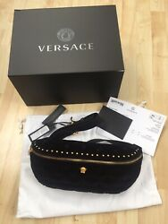 New Boxed - Versace Deep Button Leather And Velvet Belt Bag Black - Sold Out Andpound1650
