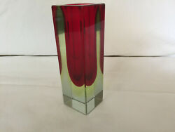 Mcm Vintage Red And Green Sommerso Murano Art Glass Vase