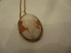 Vintage Gold Filled Cameo W Diamond Necklace Pin/pendant