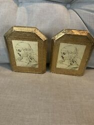 Vintage Gold Gilded Wood Florentine Bookends Hand Made In Italy 6.25 Tall