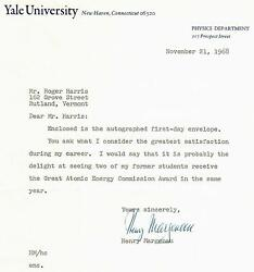 Philosopher Of Science Henry Margenau Signed Tls Dated 1968 Todd Mueller Coa