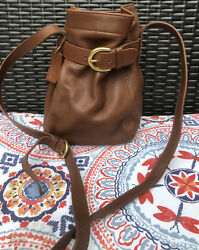Coach Bucket Soho Belted Vintage 4156 Brown Gold Leather Cross Body Bag $67.99