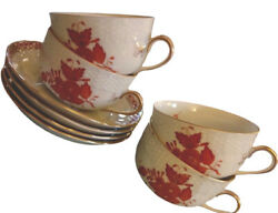 Rare Herend Chinese Bouquet Rust Porcelain Canton Cup And Tea Cup Saucer Set 1