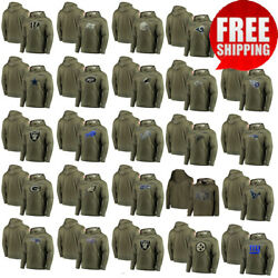 2019 Menand039s Tootball 32 Team Olive Salute Service Sideline Therma Pullover Hoodie