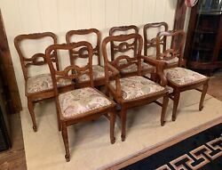 Antique Oak Set Of 7 Chairs With Arm Chair