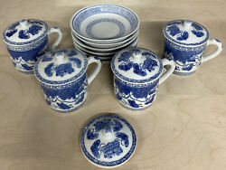 4 Williams Sonoma Blue White Porcelain Covered Mugs Floral/butterfly. 6 Plates