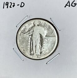 1927-d Standing Liberty Quarter - Ag - About Good - 90 Silver