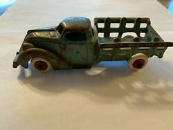 Vintage 1930s Hubley 2217 Cast Iron Stake Truck With White Rubber Wheels 5 1/2