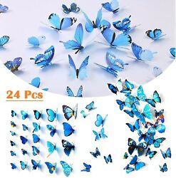 24Pcs 3D Butterfly Wall Stickers Blue PVC Art Decal Room Home Party Decor DIY US