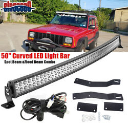 50 Led Light Bar Upper Roof No Drill Mount Brackets For Jeep Cherokee Xj 84-01