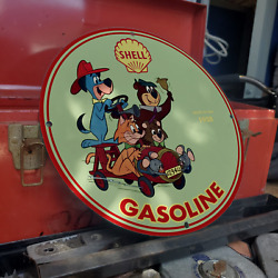 Vintage 1958 Shell Gasoline Fuel Oil Company Porcelain Gas And Oil Pump Sign