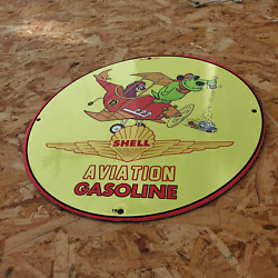 Vintage 1967 Shell Aviation Aircraft Gasoline Fuel Porcelain Gas And Oil Sign