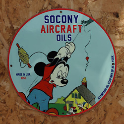 Vintage 1952 Socony Aircraft Oils Standard Oil Company Porcelain Gas And Oil Sign