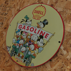 Vintage Style Dated1962 Shell Gasoline Disney Porcelain Gas And Oil Pump Sign