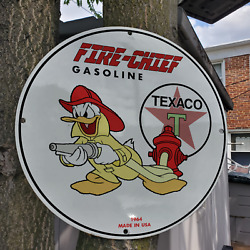 Vintage 1964 Texaco Fire-chief Gasoline Fuel Porcelain Gas And Oil Pump Sign
