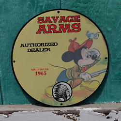 Vintage1965 Savage Arms Authorized Dealer And039mickey Mouseand039 Porcelain Gas-oil Sign