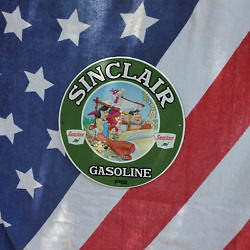 Vintage 1962 Sinclair Gasoline Oil And039and039the Flintstonesand039and039 Porcelain Gas And Oil Sign