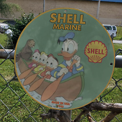 Vintage 1943 Shell Marine Gasoline Fuel 'donald Duck' Porcelain Gas And Oil Sign