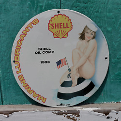 Vintage 1933 Shell Oil Comp Marine Lubricants Porcelain Gas And Oil Pump Sign