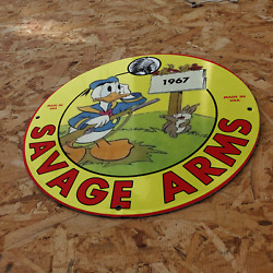 Vintage 1967 Savage Arms Firearms Gunmaker Company Porcelain Gas And Oil Sign