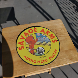 Vintage 1966 Savage Arms Firearms Authorized Dealer Porcelain Gas And Oil Sign