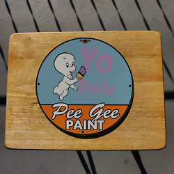 Vintage 1969 Pee Gee Paint Varnishes ''yo Dude'' Porcelain Gas And Oil Pump Sign