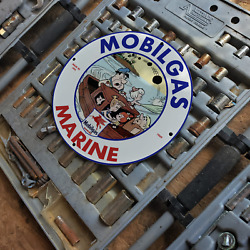 Vintage 1969 Marine Mobil Gas ''pegasus Winged Horse'' Porcelain Gas And Oil Sign