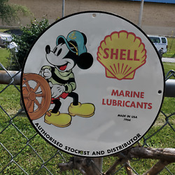 Vintage 1966 Shell Marine Lubricants Authorized Stockist Porcelain Gas-oil Sign