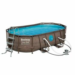Bestway Power Steel Swim Vista 14and039 X 8and039 X 40 Above Ground Swimming Pool Set