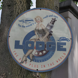 Vintage 1937 Lodge Spark Plug For Best Aircraft And Cars Porcelain Gas And Oil Sign