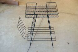 1960s Black Metal Stereo Record Album Rack Stand Accent Table Retro Vintage