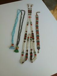 Vintage Assortment Of Native American Beaded Necklaces/with Pendants