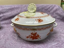 Herend Rust Chinese Bouquet Covered Vegetable Serving Dish Lemon Finial 9 1/2