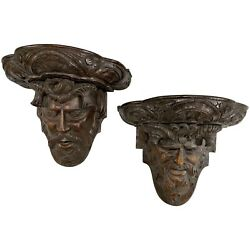 Pair Of Black Forest Carved Wooden Wall Brackets With Figures Of Pan