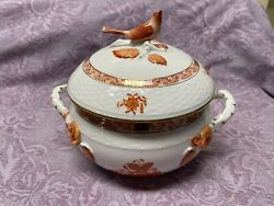 Herend Rust Chinese Bouquet Covered Vegetable Bean Pot Bird Finial 7 1/2