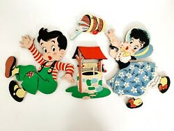 Vintage Dolly Toy Co Jack and Jill Nursery Wall Hanging Thick Cardboard 4 Piece