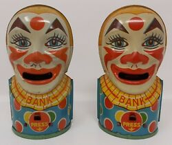 2 J. Chein And Co. Tin Clown Banks Lithographed Mechanical Works Complete 1940s