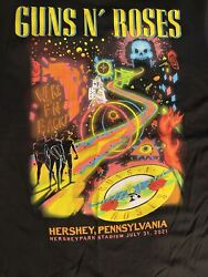 Guns And Roses Official Lithograph Concert T Shirt New Hersheypark July 31 Larg