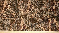 CLARENCE HOUSE SAFARI TAPESTRY IN BLACK BROWN JUNGLE THEME 3 YARDS WOVEN FABRIC