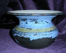 Antique Cast Iron Enamel Coated Rare Black Spittoon Hand Painted Look