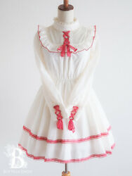 🌹liz Lisa🌹tiered Lace Up York Frill Collar Onepiece Dress Off White X Red G247