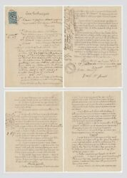 Manet Andeacutedouard Painter - Document Twice Signed