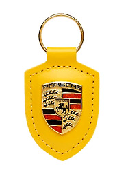 New Genuine Porsche Yellow Coloured Crested Leather Keyring Wap0500200m12h