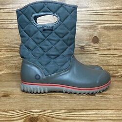 Bogs Womens Juno Mid 71570-013 Quilted Waterproof Gray Winter Boots Size Us 10