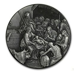 Silver 2oz Nativity Coin Round Scottsdale Mint Only 1499 Christmas Junk Bar
